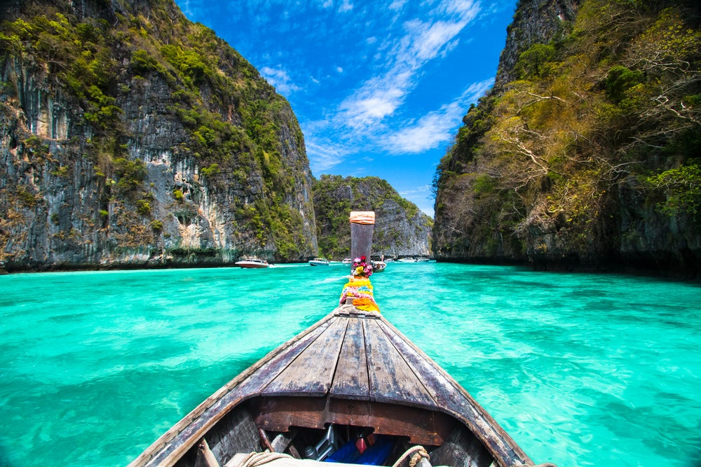 boat, thailand, koh phi phi, wasser, berge, türkis, paradies
