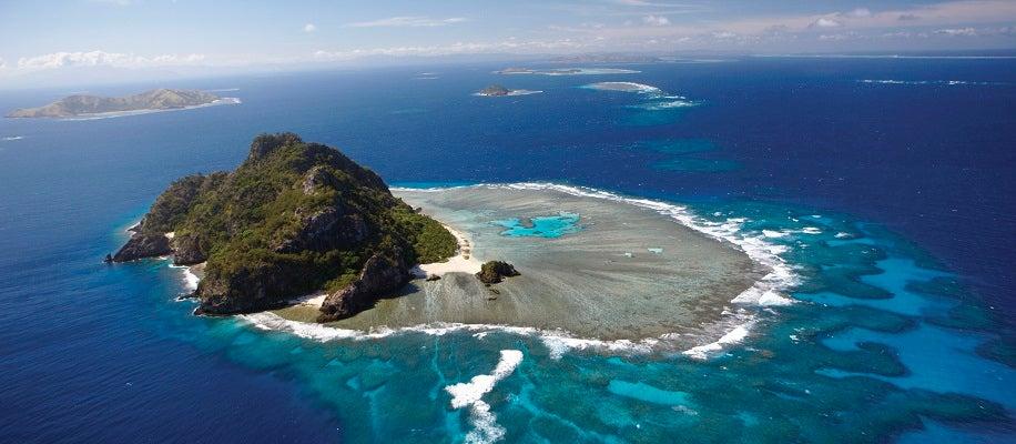 Aerial views, Monoriki island, Mamanuca islands. Fiji Islands.