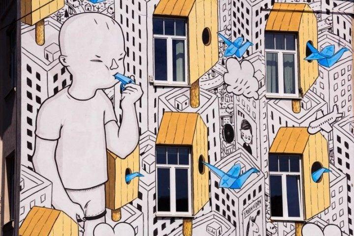 Vilnius, Streetart, Millo, Mural, Paper Birds